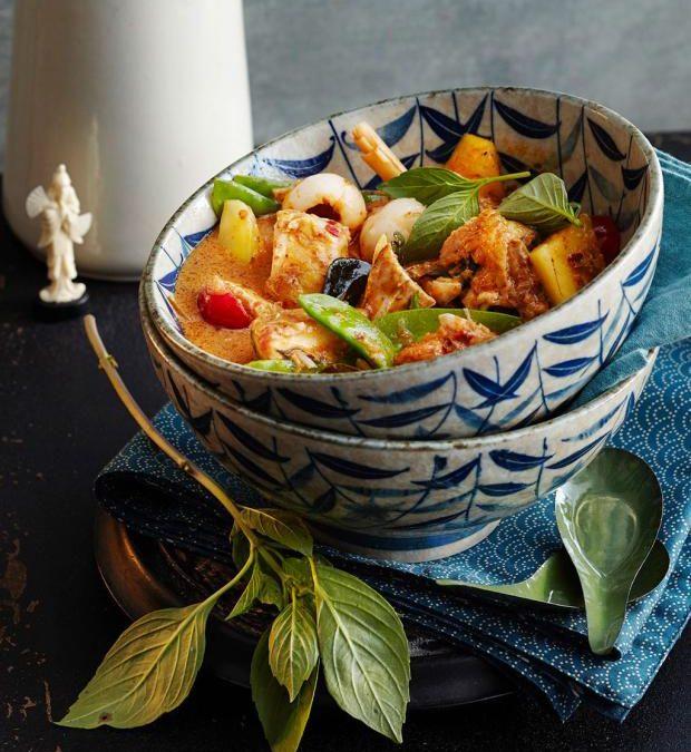 Rotes Brathähnchen-Curry